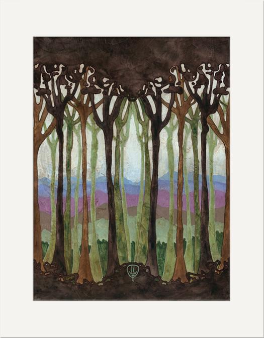 The Bungalow Craft Decor Julie Leidel Art Nouveau Silhouette Forest Print 10 x 20 Flat Art Canvas