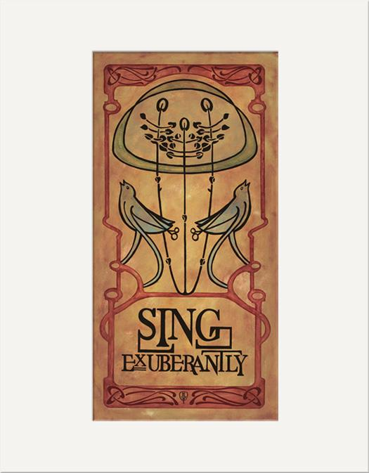 The Bungalow Craft Decor Julie Leidel Art Nouveau Sing Exuberantly Print 10 x 20 Flat Art Canvas