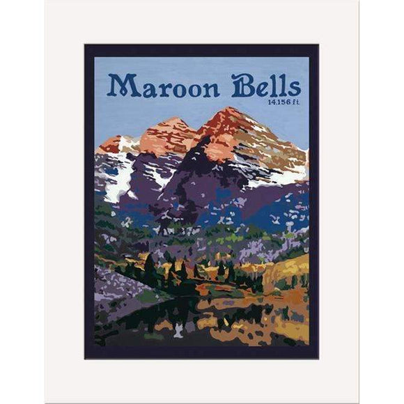The Bungalow Craft Decor Julie Leidel Maroon Bells Print 8 x 10 Matted Print