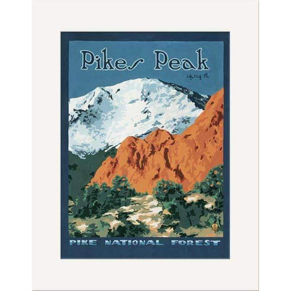 The Bungalow Craft Decor Julie Leidel Pikes Peak Print 8 x 10 Matted Print