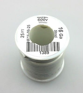 25' Roll 16AWG WHITE Stranded Appliance Grade 600 Volt Hook-Up Wire, UL1015 105C - MarVac Electronics
