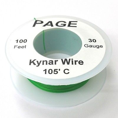 100' Page 30AWG GREEN KYNAR Insulated Wire Wrap Wire 100 Foot Roll ~ Made In USA - MarVac Electronics