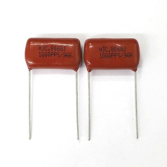 Lot of 2 0.0068uF 1000V Metallized Polypropylene Film Capacitors 6800pF - MarVac Electronics