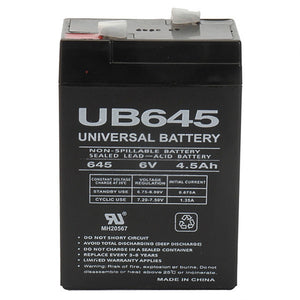 6V 4.5AH SLA Battery F1 Terminals UB645 F1