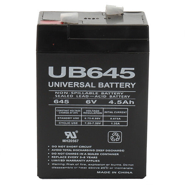 6V 4.5AH SLA  Sealed Lead Acid Battery F1 Terminals UB645 F1 UPG