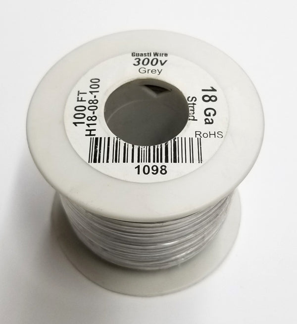 100 Foot Roll 18 Gauge 18AWG GREY, Stranded Copper 300 Volt PVC Insulated Hook-Up Wire