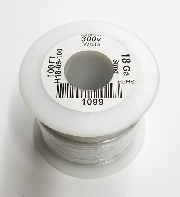 100 Foot Roll 18 Gauge 18AWG WHITE, Stranded Copper 300 Volt PVC Insulated Hook-Up Wire