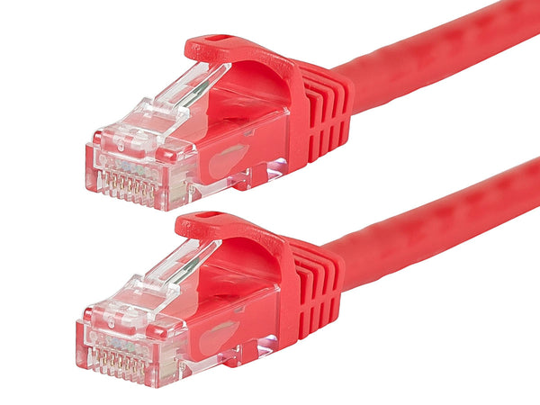 25 Foot RED CAT5e Ethernet Patch Cable with Snagless Flexboot Ends MV11291