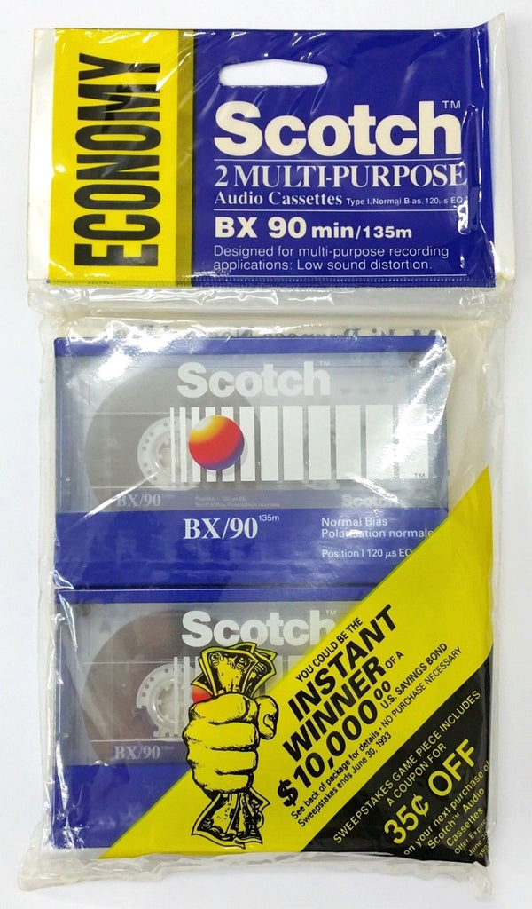 2 Pack of Vintage 3M Scotch BX/90, 90 Minute Audio Cassette Tapes ~ Sealed NOS - MarVac Electronics