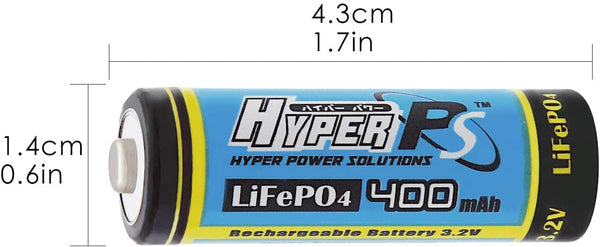 HyperPS 14430 4/5AA 400mAh 3.2V Volt LiFePO4 Rechargeable Battery