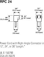 Globe Motor RPC24 24'' Right Angle Power Cord for Cooling Fans