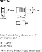 Globe Motor SPC24 24'' Straight Power Cord for Cooling Fans