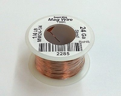 24 Gauge Insulated Magnet Wire, 1/4 Pound Roll (198' Approx. Length) 24AWG - MarVac Electronics