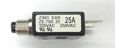25 Amp Pushbutton Circuit Breaker~ Zing Ear ZE-700-25 25A - MarVac Electronics