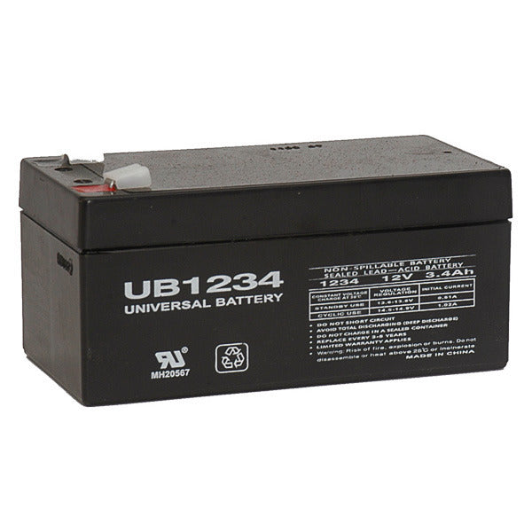 12V 3.4AH SLA Sealed Lead Acid  Battery F1 Terminals UB1234 F1 UPG