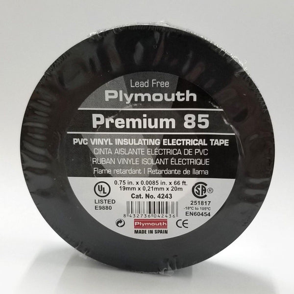 "Tape Plymouth Rubber Premium 85 #4243, 3/4"" x 66Ft Roll of Vinyl Insulating Tape 600V"
