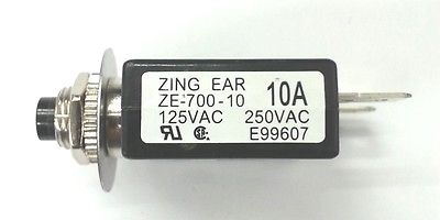 10 Amp Pushbutton Circuit Breaker ~ Zing Ear ZE-700-10 10A - MarVac Electronics