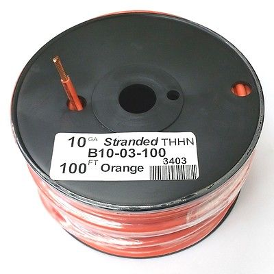 B10-03-100 ~ 10AWG ORANGE THHN Stranded 600 Volt Gas & Oil Resist Wire 100' Roll - MarVac Electronics