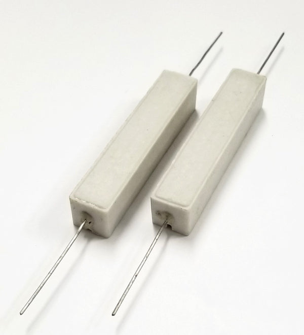 Lot of 2, 50 Ohm 25 Watt Wirewound Ceramic Power Resistors 25W
