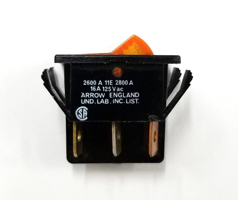 Arrow 2600A11E DPST ON-OFF 125V Amber Neon Lighted Rocker Switch 10A @ 125V AC
