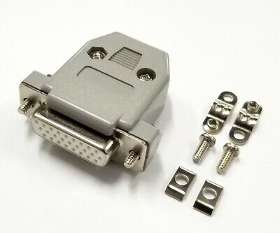 HD 26 Pin Female D-Sub Cable Mount Connector w/ Plastic Cover & Hardware DB26
