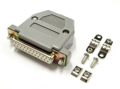 DB 25 Pin Female D-Sub Cable Mount Connector w/ Plastic Cover & Hardware DB25