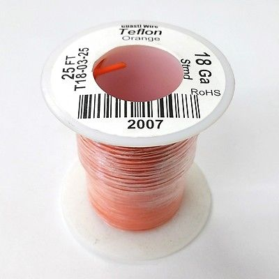 25' 18AWG ORANGE Hi Temp PTFE Insulated Silver Plated 600 Volt Hook-Up Wire - MarVac Electronics