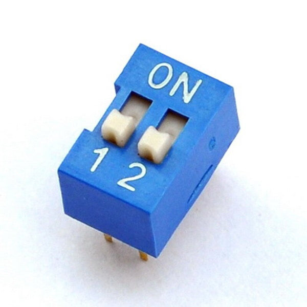 Philmore 30-1002 2 Position DIP Switch, 2.54mm Spacing ON-OFF 100mA@50V DC