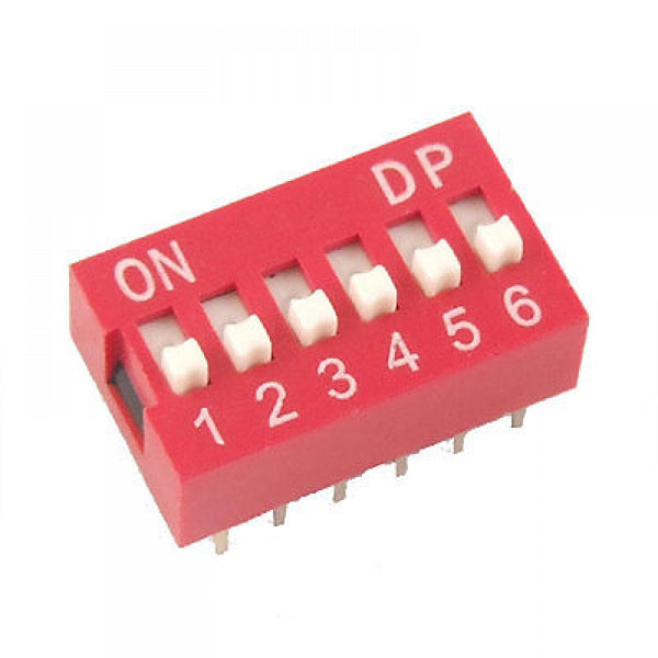Philmore 30-1006 6 Position DIP Switch, 2.54mm Spacing ON-OFF 100mA@50V DC