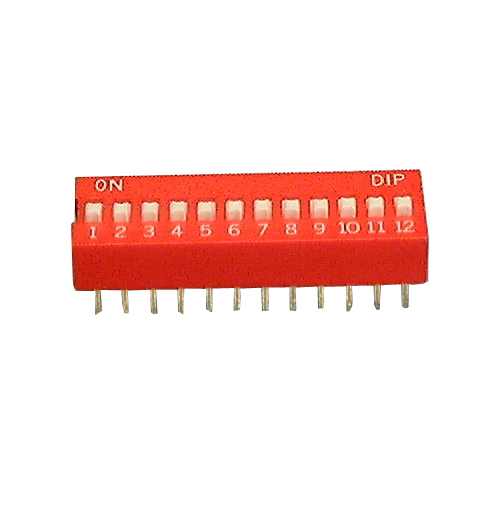 Philmore 30-1012 12 Position DIP Switch, 2.54mm Spacing ON-OFF 100mA@50V DC