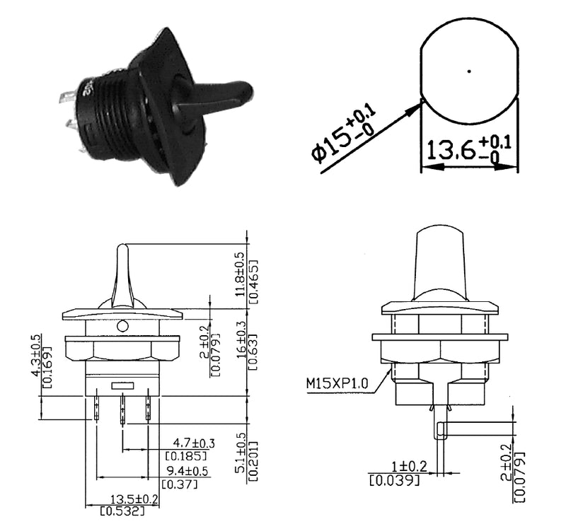 Philmore 30-10324 SPDT ON-(ON), Round Paddle Lever Toggle Switch 6A@125V AC