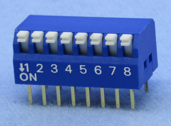 Philmore 30-11080 8 Position DIP Switch, Right Angle ON-OFF 100mA@50V DC