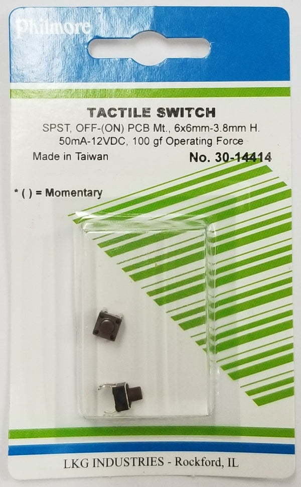 Philmore 30-14414 SPST OFF-(ON) Momentary 6.0mm x 7.0mm Tactile Switches, 2 Pack