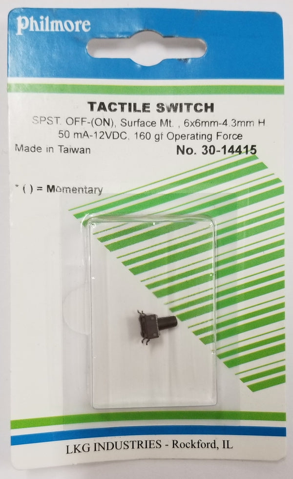 Philmore 30-14415 SPST OFF-(ON) Momentary 6.0mm x 9.5mm Tactile Switch
