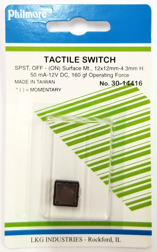 Philmore 30-14416 SPST OFF-(ON) Momentary 12.0mm x 4.3mm Tactile Switch