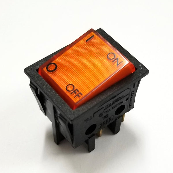 NEW DPST ON-OFF Rocker Switch Dreefs 3080/6, NON-LIGHTED Amber~ 16A @ 250V AC