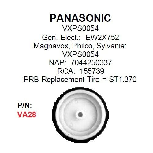 PRB VA28 VCR Idler For Panasonic: VXPS0054  VA-28 - MarVac Electronics