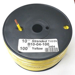 B10-04-100 ~ 10AWG YELLOW THHN Stranded 600 Volt Gas & Oil Resist Wire 100' Roll - MarVac Electronics
