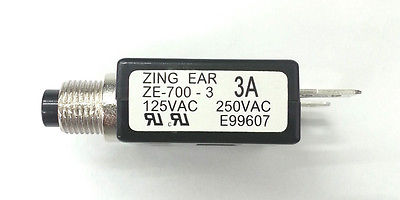 3 Amp Pushbutton Circuit Breaker  ~ Zing Ear ZE-700-3 3A - MarVac Electronics