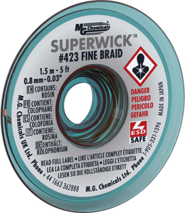 "MG Chemicals 423 (#1) 5 Foot Length of 0.030"" (0.8mm) Width Fine Braid Solder Wick, Static Free (SMT) Spool"