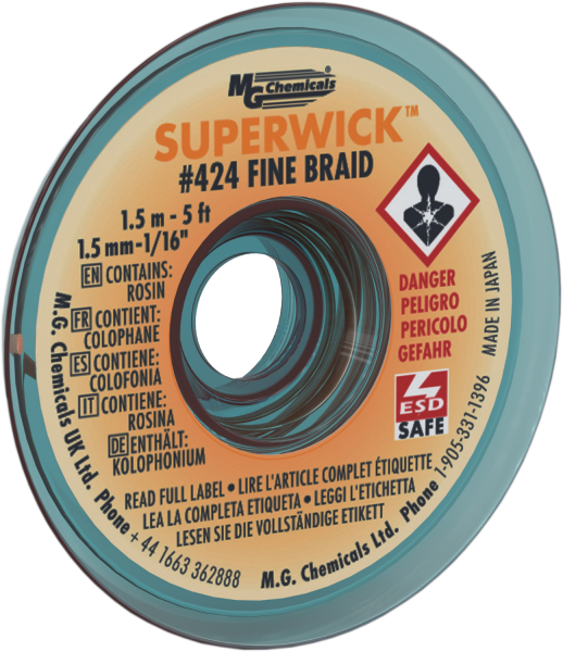 "MG Chemicals 424 (#2) 5 Foot Length of 0.060"" (1.5mm) Width Fine Braid Solder Wick, Static Free (SMT) Spool"