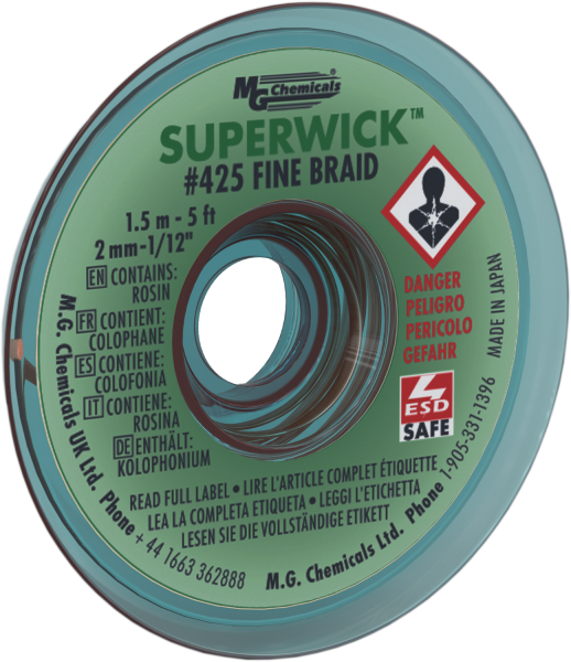 "MG Chemicals 425 (#3) 5 Foot Length of 0.080"" (2.0mm) Width Fine Braid Solder Wick, Static Free (SMT) Spool"