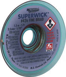 "MG Chemicals 426 (#4) 5 Foot Length of 0.100"" (2.5mm) Width Fine Braid Solder Wick, Static Free (SMT) Spool"