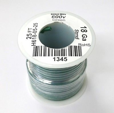 25' Roll 18AWG GREEN Stranded Appliance Grade 600 Volt Hook-Up Wire, UL1015 105C - MarVac Electronics