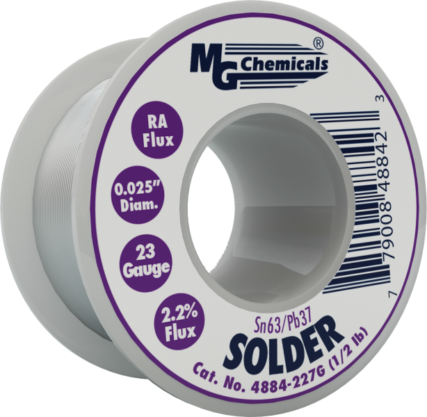 MG Chemicals 4884-227G, 227 gram (0.5 lb.) Roll of Sn63/Pb37, (23ga) .025'' Diameter Rosin Flux Core Solder