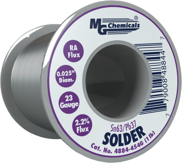 MG Chemicals 4884-454G, 454 gram (1.0 lb.) Roll of Sn63/Pb37, (23ga) .025'' Diameter Rosin Flux Core Solder