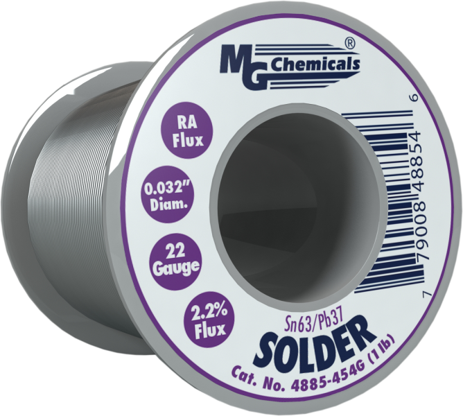 MG Chemicals 4885-454G, 454 gram (1.0 lb.) Roll of Sn63/Pb37, (22ga) .032'' Diameter Rosin Flux Core Solder
