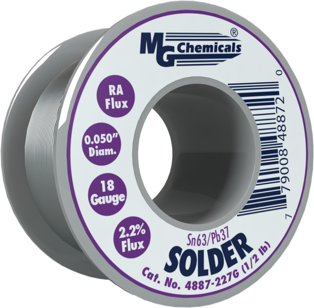 MG Chemicals 4887-227G, 227 gram (0.5 lb.) Roll of Sn63/Pb37, (18ga) .050'' Diameter Rosin Flux Core Solder