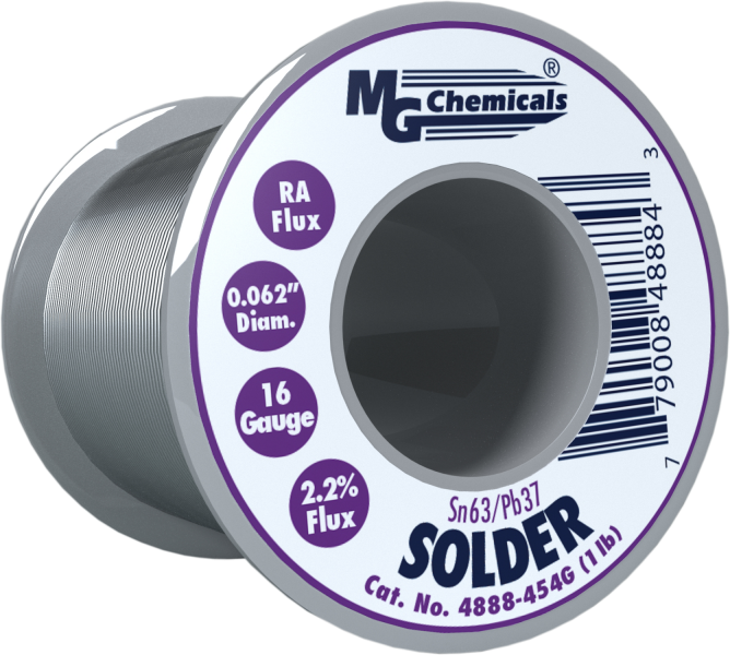 MG Chemicals 4888-454G, 454 gram (1.0 lb.) Roll of Sn63/Pb37, (16ga) .062'' Diameter Rosin Flux Core Solder