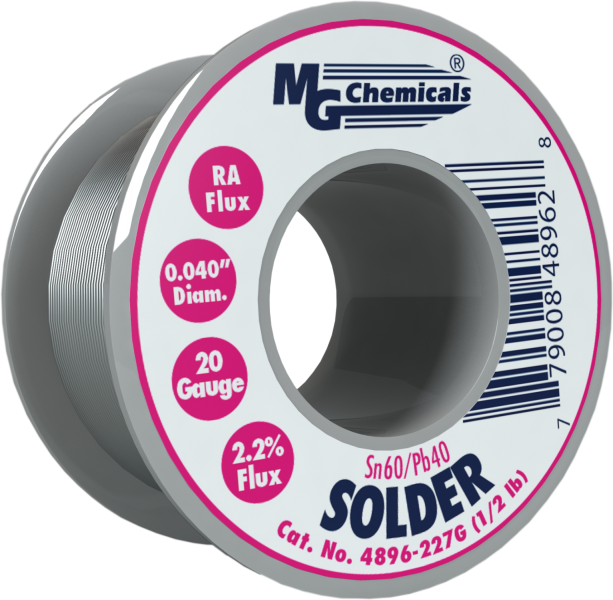 MG Chemicals 4896-227G, 227 gram (0.5 lb.) Roll of Sn60/Pb40, (18ga) .040'' Diameter Rosin Flux Core Solder